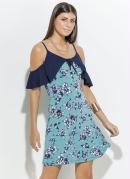 Vestido Quintess Floral e Azul com Babado e Alça