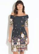 Vestido Quintess Floral Escuro Decote com Gola