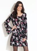 Vestido Quintess Floral Preto Mangas Sino