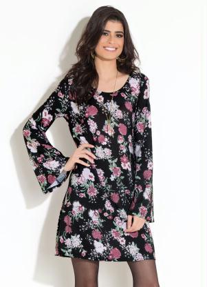 9516161e3 Vestido Quintess Floral Preto Mangas Sino - SouLojista