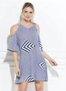 Vestido Quintess Geométrico Azul Ombros Vazados