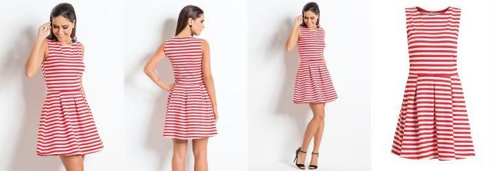 Vestido Quintess Listrado Vermelho sem Mangas