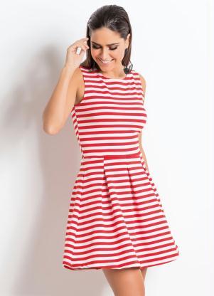 Vestido Quintess (Listrado Vermelho) sem Mangas
