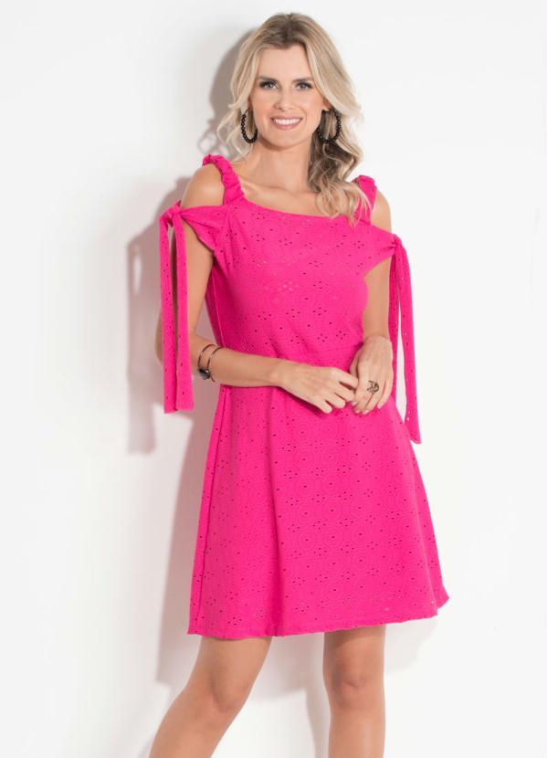 Vestido Quintess (Pink) com Amarração nas Mangas