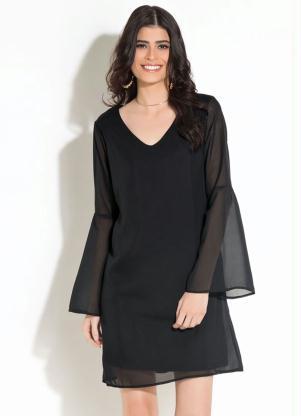 432940aaa Vestido Quintess Preto com Mangas Longas Amplas - Quintess