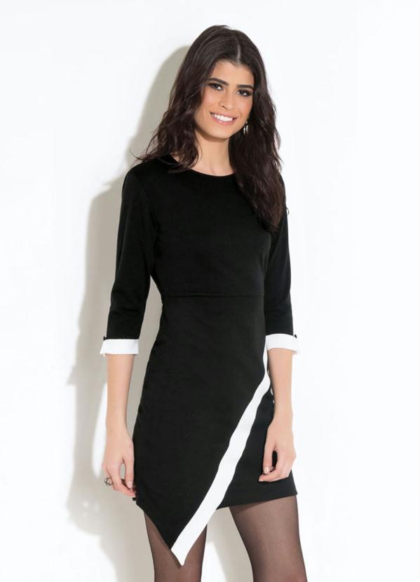 Vestido Quintess (Preto) com Recorte Assimétrico