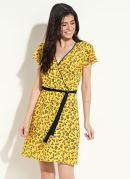 Vestido Quintess Transpassado Floral Amarelo