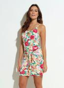 Vestido Quintess Tropical Branco com Transpasse
