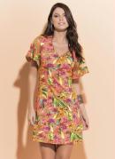 Vestido Quintess Tropical com Tule nas Mangas
