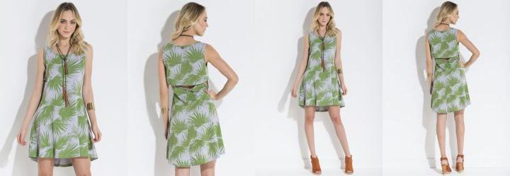 Vestido Quintess Tropical Sobreposição Costas
