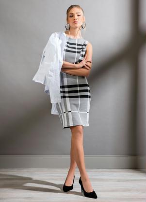 Vestido Quintess (Xadrez) sem Mangas com Recortes