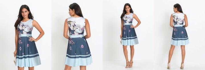 Vestido Regata Evasê Estampado Floral Azul