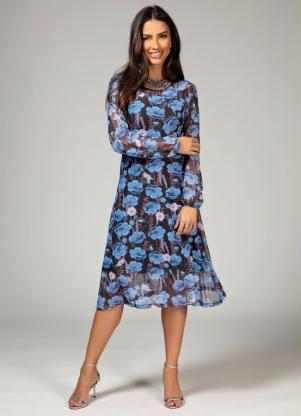 Vestido Soltinho (Floral Azul) com Transparência