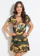 Vestido T-Shirt com Gola Choker Camuflado