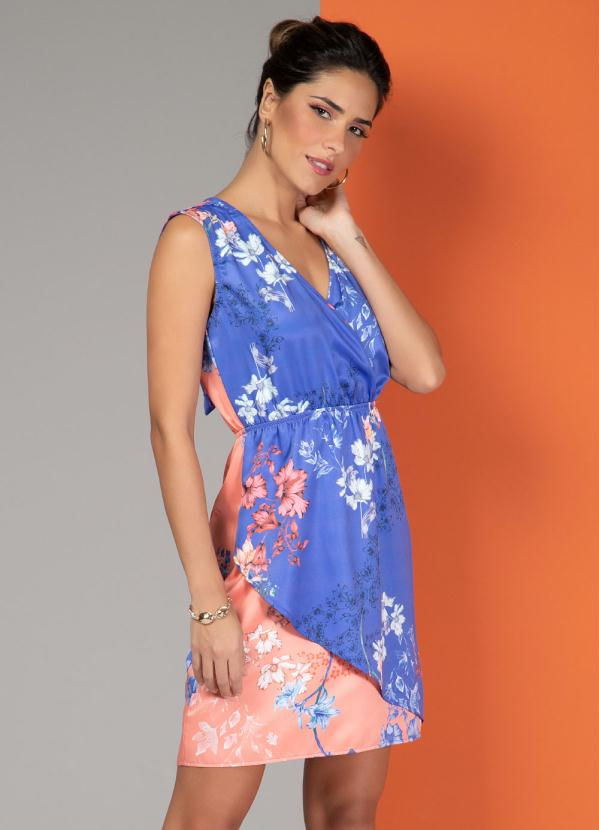 Vestido Transpassado com Recortes (Floral Bicolor)