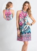 Vestido Trapézio Estampa Étnica Rosa