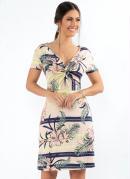 Vestido Tropical Bege com Nó no Decote