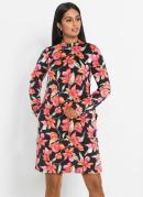 Vestido Tubinho com Laço Floral Preto