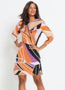 Vestido Tubinho com Recorte Geométrico Laranja