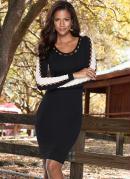 Vestido Tubinho com Recortes Preto