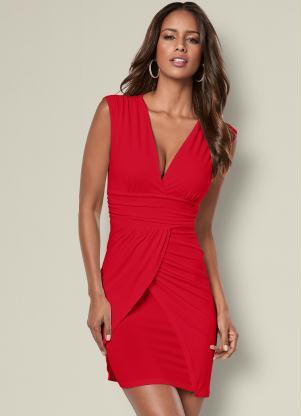 Vestido Drapeado com Saia Transpassada (Vermelho)