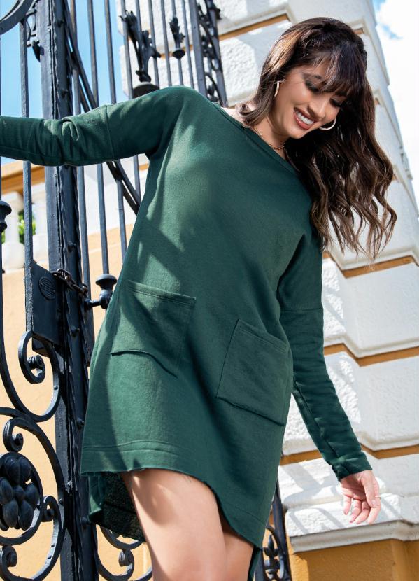 Vestido (Verde) com Bolsos Frontais