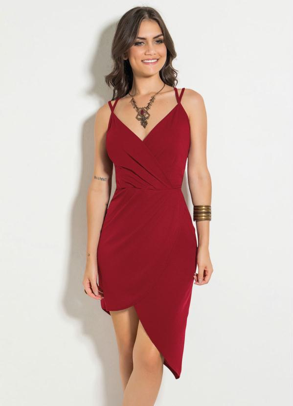 Vestido (Vermelho) com Alcinhas e Transpasse