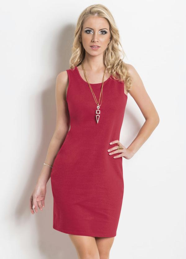 Vestido (Vermelho) Tubinho sem Mangas