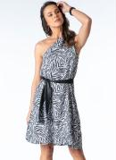 Vestido Zebra Ombro Único com Faixa