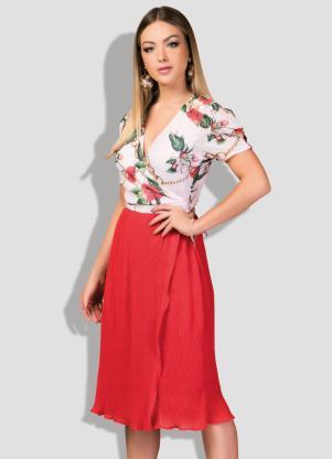 Vestido (Floral) Tanspassado com Saia Plissada