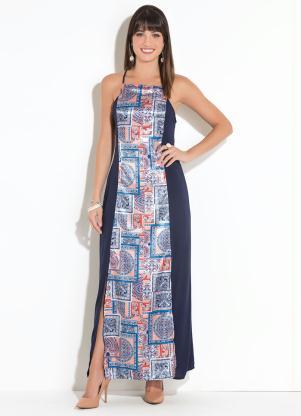1010353dd2 Vestido Quintess Longo Azul com Fenda - Quintess