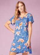 Vestido Clássico Floral com Elástico Franzido