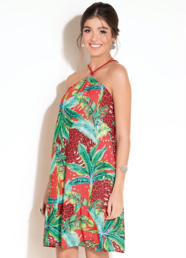 Vestido com Detalhe de Argola e Recorte (Tropical)