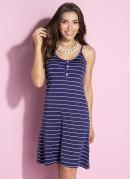 Vestido Listrado Azul Clássico com Botões