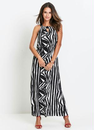 Vestido Longo Animal Print (Zebra Preto)