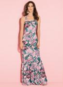 Vestido com Babados na Barra Floral Rosa