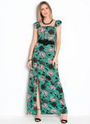 Vestido com Botões Decorativos Floral Verde