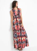 Vestido com Decote Transpassado Floral Preto