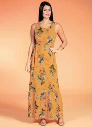 Vestido com Faixa (Floral) Moda Evangélica