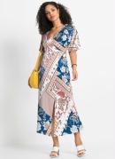 Vestido com Fenda Estampado Marrom