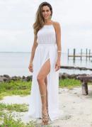Vestido com Fendas Branco