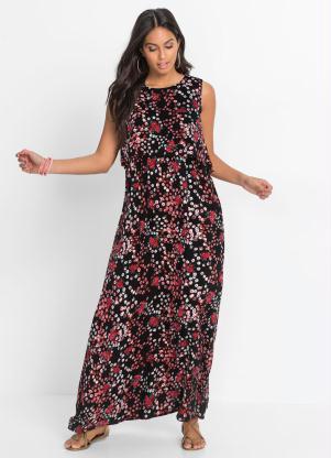 Vestido com Sobreposição (Floral Preto)