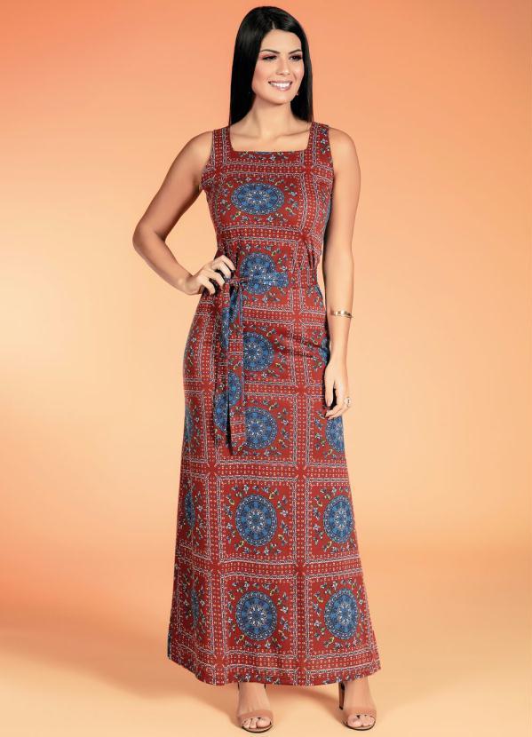 Vestido de Alça (Mandala Ferrugem) Moda Evangélica
