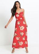 Vestido Decote Transpassado Floral Vermelho