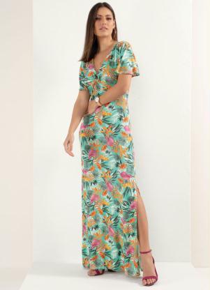 Vestido (Floral Laranja) com Detalhe de Argola