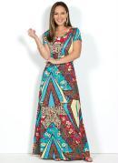 Vestido Floral Longo Mangas Curtas