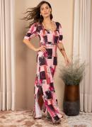 Vestido Floral Rosa Longo com Fendas