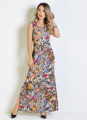 72a6a5060d Vestido Longo Animal Print com Fendas - Quintess