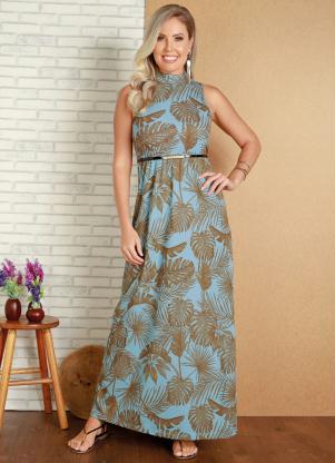 Vestido Longo (Azul Folhagem) com Gola Alta