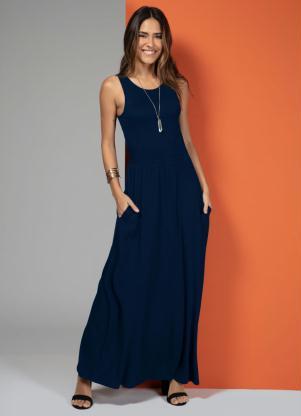 Vestido Longo com Bolsos (Azul)